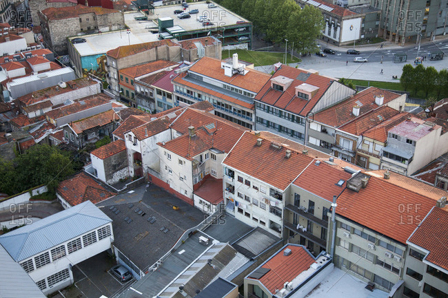 Porto, Portugal - April 20, 2019: Aerial view of rooftops in the city of Porto, Portugal