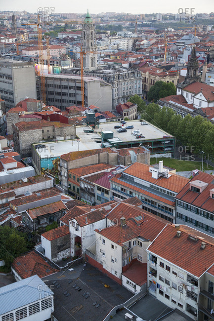 Porto, Portugal - April 20, 2019: Aerial view over building rooftops in the city of Porto, Portugal