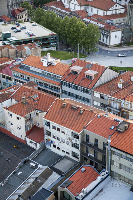 Porto, Portugal - April 20, 2019: Bird's eye view of rooftops in the city of Porto, Portugal
