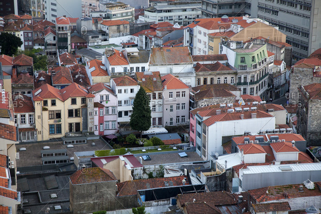 Porto, Portugal - April 20, 2019: View over a residential neighborhood in the city of Porto, Portugal