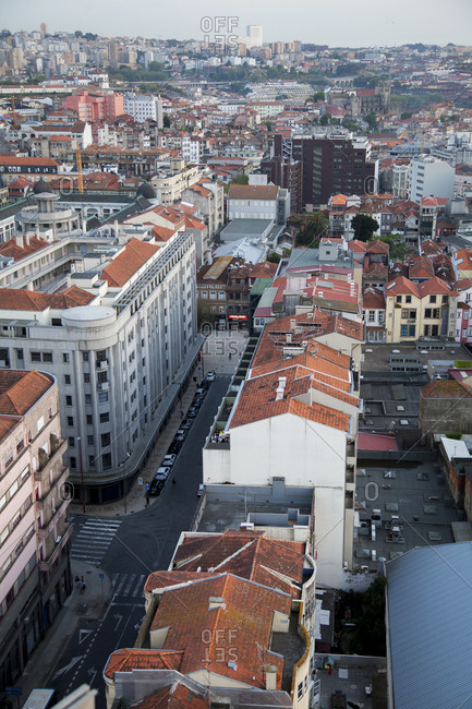 Porto, Portugal - April 20, 2019: Bird's eye view over buildings in downtown Porto, Portugal