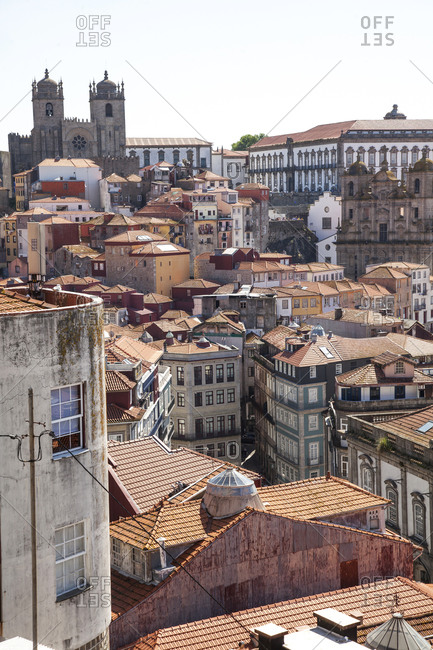 Porto, Portugal - April 21, 2019: View over the historical city center of Porto and the Porto Cathedral