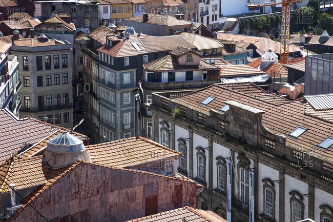 Porto, Portugal - April 21, 2019: View over the historical city center of Porto, Portugal