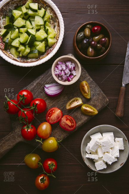 Ingredients for Greek salad overhead shot
