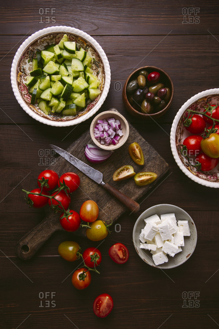 Overhead shot of ingredients for Greek salad
