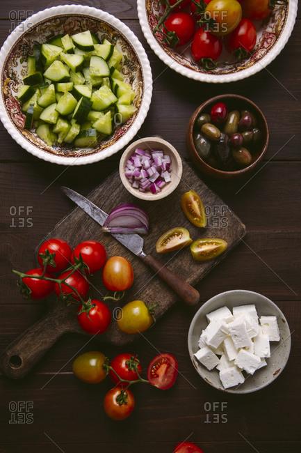 Top view of ingredients for Greek salad