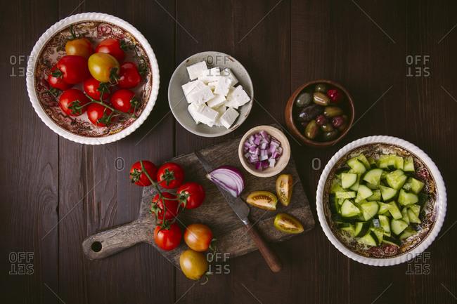 Ingredients for Greek salad horizontal shot