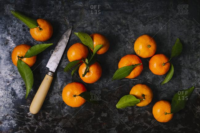 Still life of mandarin oranges overhead shot with knife