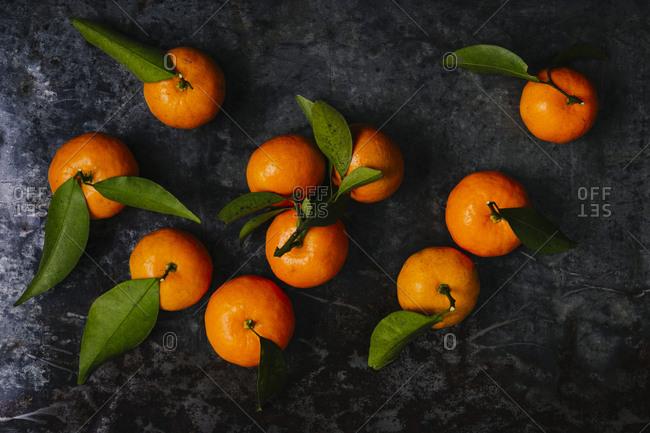 Still life of mandarin oranges overhead horizontal shot