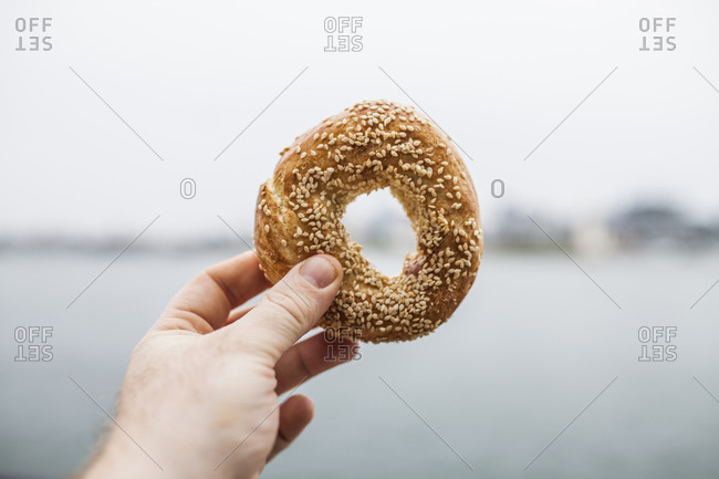 Holding an Authentic Montreal style sesame bagel in hand