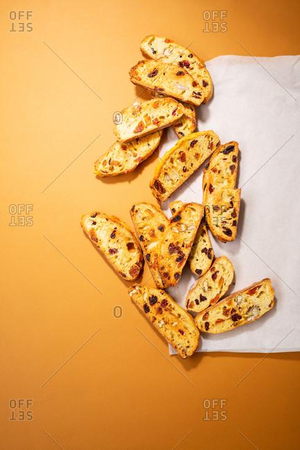 Biscotti on orange paper