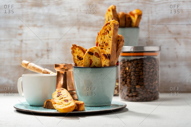 Italian biscotti and a cup of coffee on a tray
