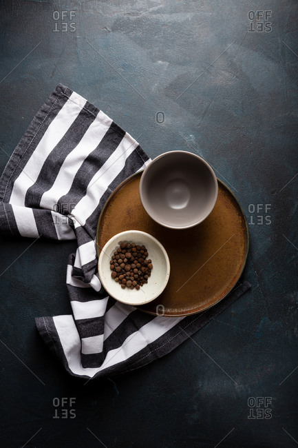Kitchen striped cloth and dishes