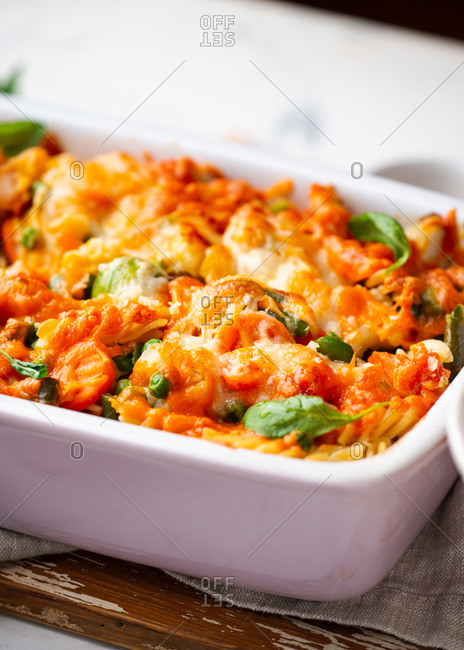 Close-up of baked macaroni and cheese casserole dish