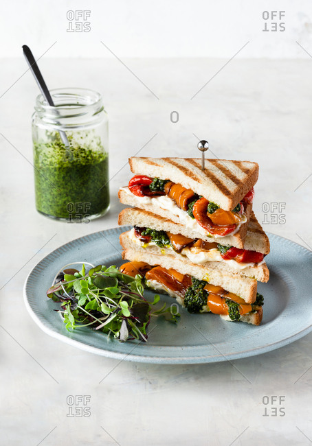 Sandwich with cheese, grilled pepper and pesto on blue plate, served with microgreens, white bread