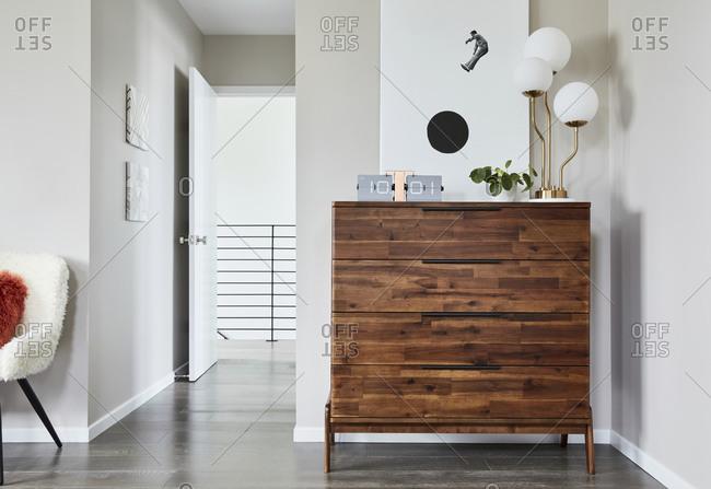 February 16, 2020: Midcentury-modern dresser in a bedroom