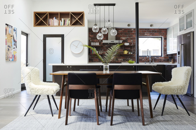 February 16, 2020: Open concept kitchen and dining area of a home