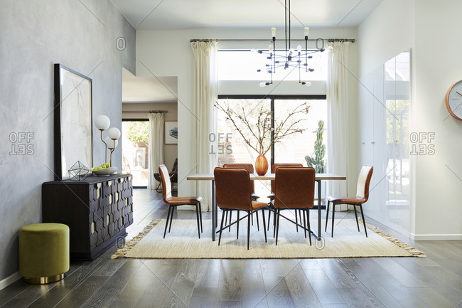 February 16, 2020: Retro dining room set in an upscale home