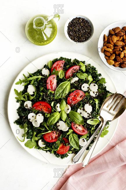 Kale Caprese Salad with Crispy Black Lentils and Arugula Vinaigrette set on a white table with a pink napkin and fork.