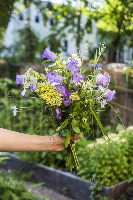 Gardener holding bouquet of fresh cut homegrown flowers