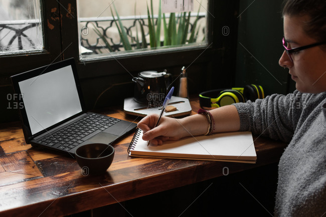 Young student is studying in a coffee shop with her laptop