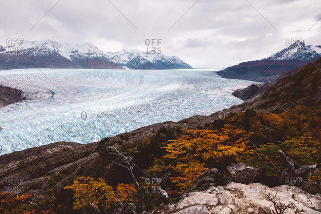 Breathtaking landscape with glaciers and mountains