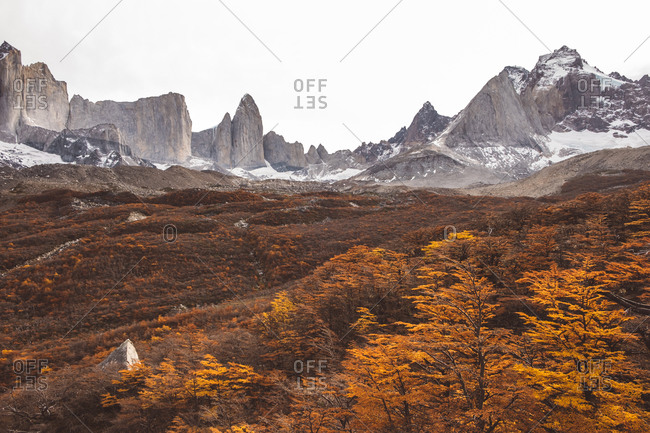 Majestic mountains and autumn trees landscape with blue sky