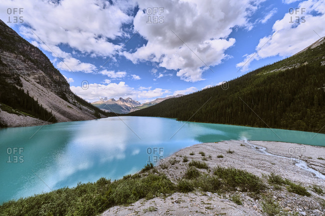 Looking out over Cirque Lake near the head of the glacier in Banff.