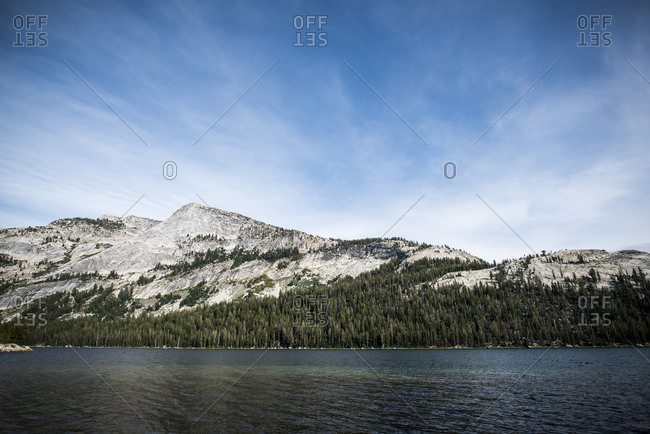 Shoreline of Tenaya Lake in Yosemite looking out over Tenaya Peak
