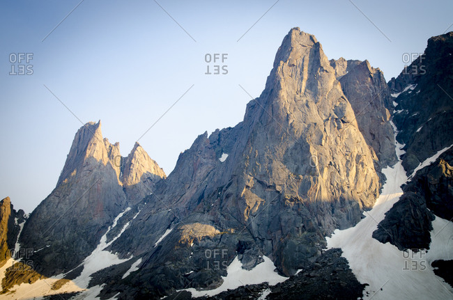 Big cliffs with alpenglow shining on them