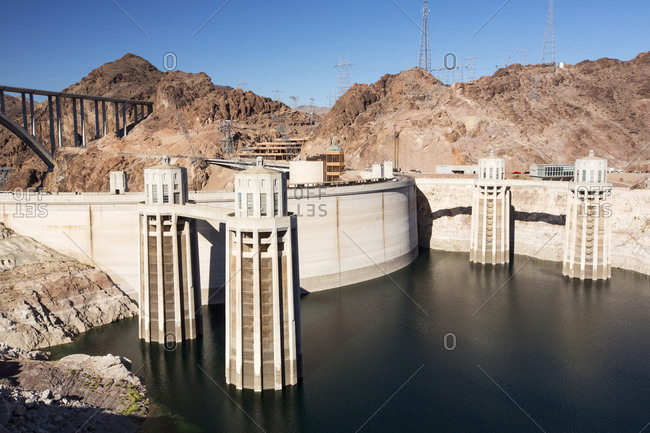Intake towers for the Hoover Dam hydro electric power station, Lake Mead, Nevada, USA. The lake is at exceptionally low levels following the four year long drought.