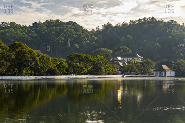 the temple of the holy tooth relict in Kandy see from the lake