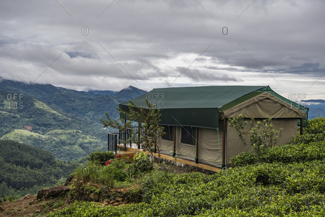 Luxury tent at a tea plantation in the central highlands of Sri Lanka