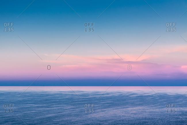 Pastel skies at dawn over Mediterranean waters