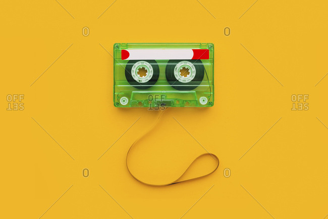 Top view of audio cassette with tangled tape.