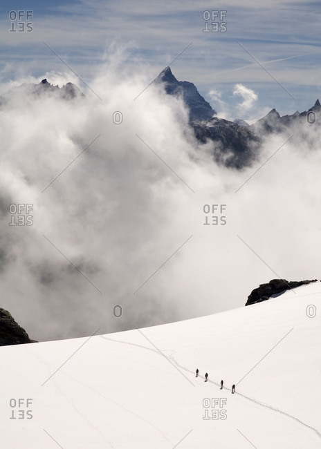 Row of hikers- Arolla- Valais Alps- Switzerland