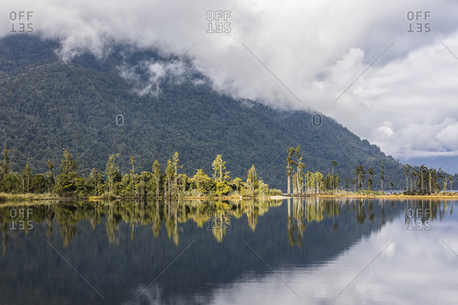 New Zealand- Grey District- Inchbonnie- Forested hill reflecting in Lake Brunner