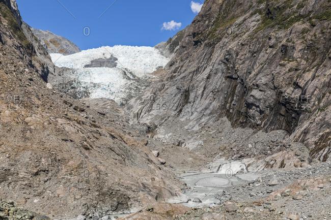 New Zealand- Westland District- Franz Josef- Low angle view of Franz Josef Glacier ridge