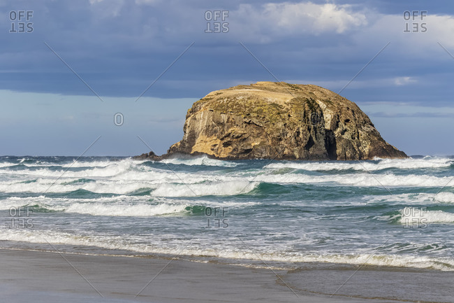 New Zealand- Dunedin- Allans Beach with sea stack in background