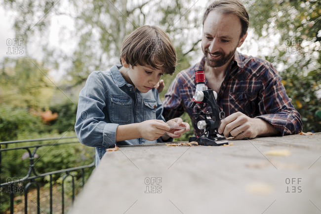 Father and son looking at objects under a microscope