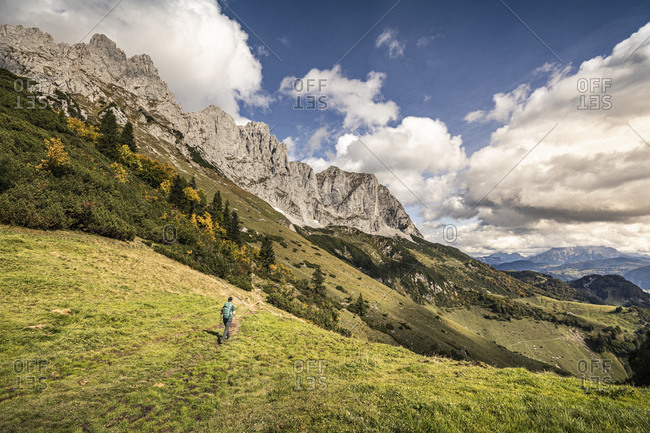Woman hiking at Wilder Kaiser- Kaiser mountains- Tyrol- Austria