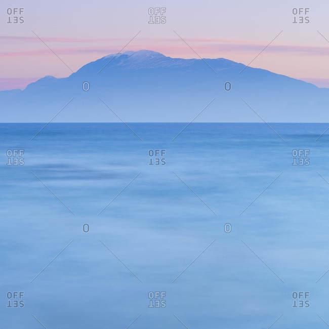 An intimate winter view of Mount Baldo from the coast of Sirmione, Brescia, Lombardy, Italy, Europe