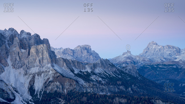 Twilight from Faloria toward Cristallo and Scarperi mountains, dolomites, Cortina d'Ampezzo, Veneto, Italy, Europe