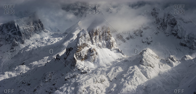 Overview of the Averau and Nuvolau mountains illuminated by the sun after a heavy snowfall, view from the Lagazuoi refuge, Cortina d'Ampezzo, dolomites, Falzarego pass, Veneto, Italy, Europe