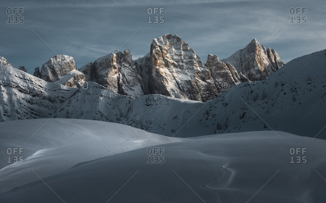 Pale di San Martino in a winter sunset and snow-capped views from the Valles pass, dolomites, Trentino Alto Adige, Italy, Europe