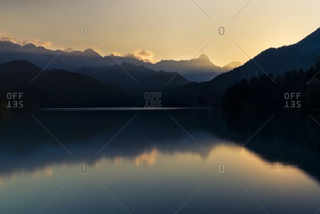 Barcis lake at sunset, dolomiti friulane natural park, Friuli Venezia Giulia, Italy, Europe