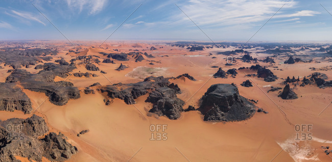 Panoramic aerial view of rocks in Tadrart, Sahara Desert, Algeria