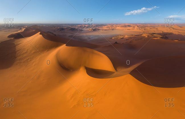 Aerial view of Tin Merzouga Dune, Sahara Desert, Algeria