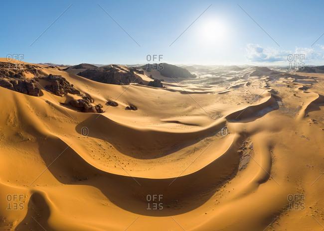 Panoramic aerial view of Tassili n'Ajjer, Sahara Desert, Algeria