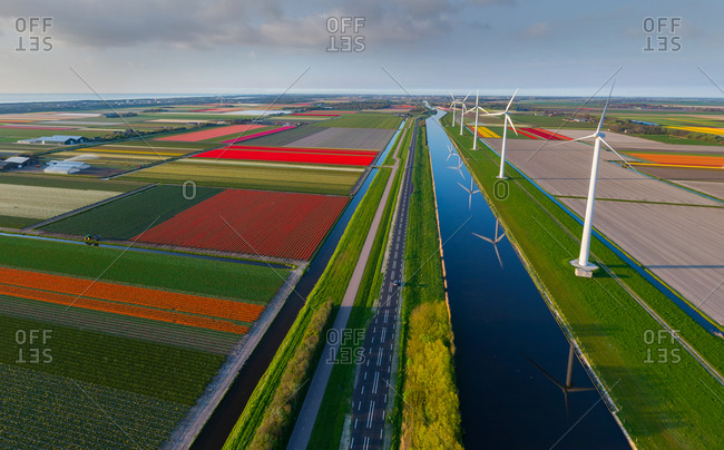 April 22, 2014: Panoramic aerial view of a tulip field in The country of tulips, Holland